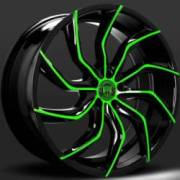 Lexani Matisse Black and Green Wheels