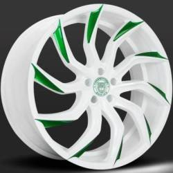 Lexani Matisse White and Green Wheels